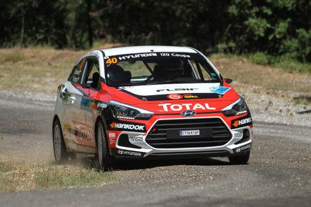 CANAKKALE, TURKEY - JULY 01, 2017: Simeon Simeonov drives Hyundai I20 Coupe in Rally Troia