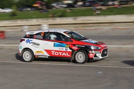 CANAKKALE, TURKEY - JULY 01, 2017: Toprak Candan drives Hyundai I20 Coupe in Rally Troia Editöryel