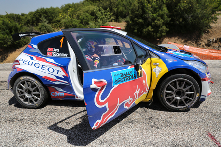 CANAKKALE, TURKEY - JULY 02, 2017: Yagiz Avci with Peugeot 208 T16 R5 of Neo Motorspor Team in Rally Troia