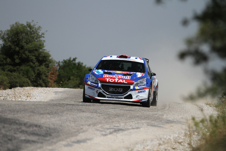 CANAKKALE, TURKEY - JULY 02, 2017: Yagiz Avci drives Peugeot 208 T16 R5 of Neo Motorspor Team in Rally Troia Editöryel