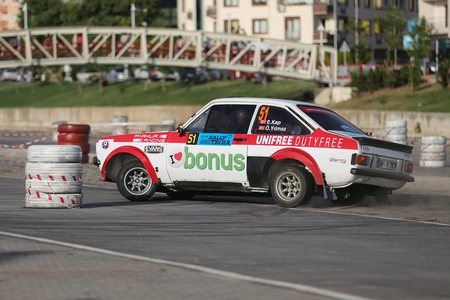 CANAKKALE, TURKEY - JULY 01, 2017: Engin Kap drives Ford Escort MKII of Parkur Racing Team in Rally Troia Editorial