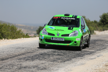 CANAKKALE, TURKEY - JULY 02, 2017: Murat Soycopur drives Renault Clio R3 of GP Garage My Team in Rally Troia