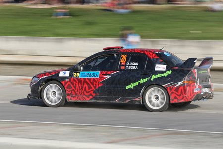CANAKKALE, TURKEY - JULY 01, 2017: Osman Ugur drives Mitsubishi Lancer Evo IX of Neo Motorspor Team in Rally Troia