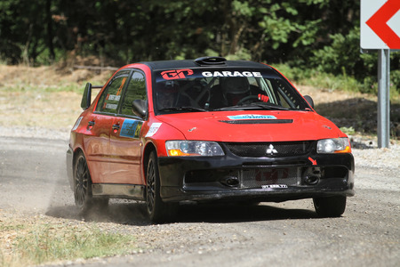 CANAKKALE, TURKEY - JULY 01, 2017: Okan Tanriverdi drives Mitsubishi Lancer Evo IX in Rally Troia