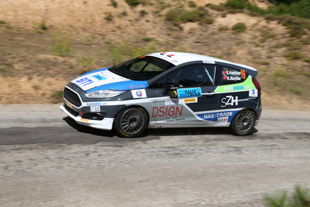 CANAKKALE, TURKEY - JULY 01, 2017: Emre Hasbay drives Ford Fiesta R2T of Ford Motorsport Turkey Team in Rally Troia