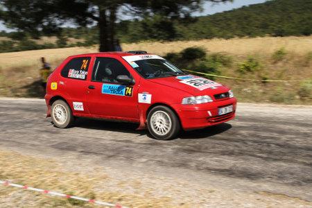 CANAKKALE, TURKEY - JULY 01, 2017: Murat Guray drives Fiat Palio in Rally Troia