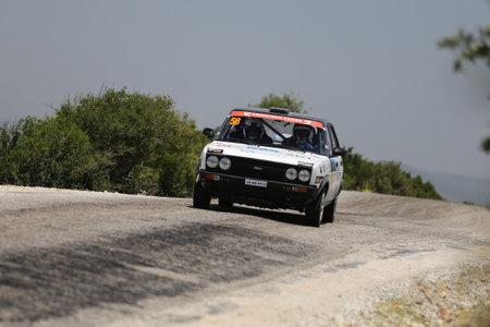 CANAKKALE, TURKEY - JULY 02, 2017: Gercek Sunman drives Fiat 131 in Rally Troia