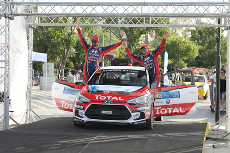 CANAKKALE, TURKEY - JULY 02, 2017: Toprak Candan with Hyundai I20 Coupe in finish podium of Rally Troia Editöryel