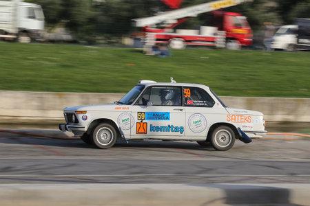 CANAKKALE, TURKEY - JULY 01, 2017: Ibrahim Ozturk drives BMW 1502 in Rally Troia