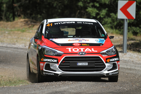 CANAKKALE, TURKEY - JULY 01, 2017: Denis Stanchovski drives Hyundai I20 Coupe in Rally Troia