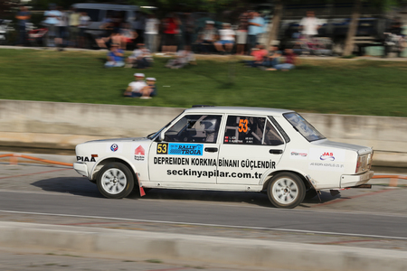 CANAKKALE, TURKEY - JULY 01, 2017: Levent Gur drives Fiat 131 in Rally Troia