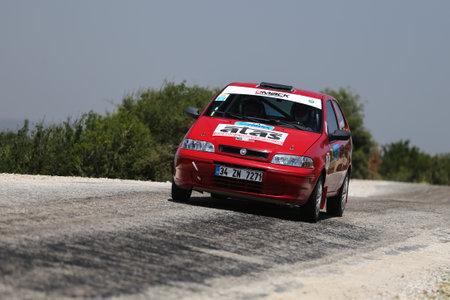 CANAKKALE, TURKEY - JULY 02, 2017: Murat Guray drives Fiat Palio in Rally Troia
