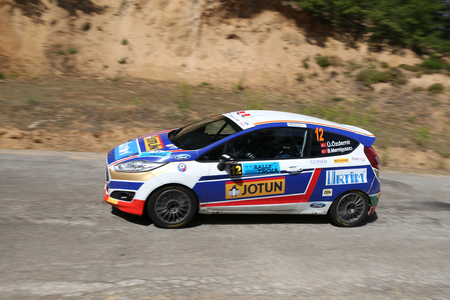 CANAKKALE, TURKEY - JULY 01, 2017: Umitcan Ozdemir drives Ford Fiesta R2T of Ford Motorsport Turkey Team in Rally Troia