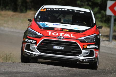 CANAKKALE, TURKEY - JULY 01, 2017: Toprak Candan drives Hyundai I20 Coupe in Rally Troia Editorial
