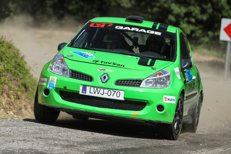 CANAKKALE, TURKEY - JULY 01, 2017: Murat Soycopur drives Renault Clio R3 of GP Garage My Team in Rally Troia Editorial