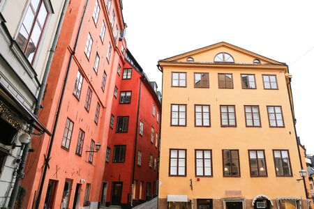 Colorful Buildings in Gamla Stan, Stockholm City, Sweden Stock Photo