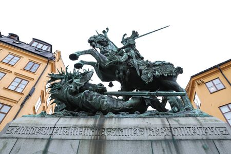 Saint George and the Dragon Statue in Stockholm City, Sweden