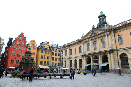 STOCKHOLM, SWEDEN - SEPTEMBER 20, 2017: Buildings in Stortorget Place, Gamla Stan, old town of Stockholm city