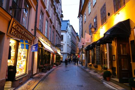 STOCKHOLM, SWEDEN - SEPTEMBER 20, 2017: Old and narrow street in Gamla Stan, old town of Stockholm city Editorial