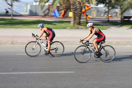 ISTANBUL, TURKEY - AUGUST 13, 2017: Athletes competing in cycling component of Istanbul Kartal Triathlon.