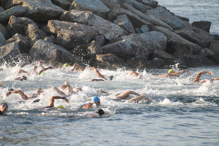 ISTANBUL, TURKEY - AUGUST 13, 2017: Athletes competing in swimming component of Istanbul Kartal Triathlon.