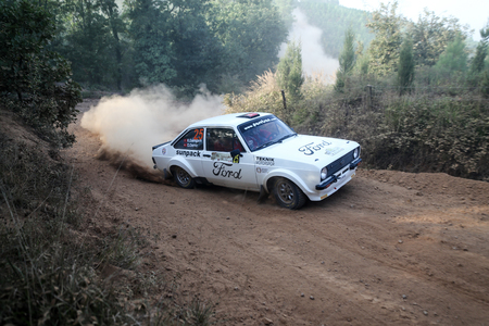 ISTANBUL, TURKEY - SEPTEMBER 09, 2017: Kemal Gamgam drives Ford Escort MKII in ISOK Istanbul Rally