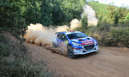 ISTANBUL, TURKEY - SEPTEMBER 09, 2017: Yagiz Avci drives Peugeot 208 T16 R5 of Neo Motorspor Team in ISOK Istanbul Rally