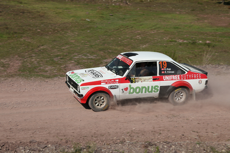 ISTANBUL, TURKEY - SEPTEMBER 09, 2017: Engin Kap drives Ford Escort MKII of Parkur Racing Team in ISOK Istanbul Rally