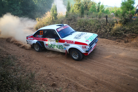 ISTANBUL, TURKEY - SEPTEMBER 09, 2017: Burak Turkkan drives Ford Escort MKII of Parkur Racing Team in ISOK Istanbul Rally Éditoriale