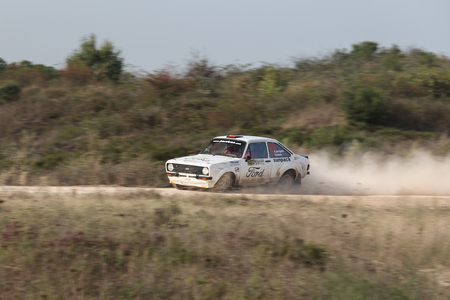 ISTANBUL, TURKEY - SEPTEMBER 10, 2017: Kemal Gamgam drives Ford Escort MKII in ISOK Istanbul Rally