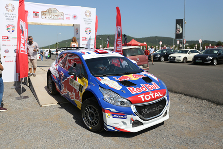 ISTANBUL, TURKEY - SEPTEMBER 09, 2017: Yagiz Avci with Peugeot 208 T16 R5 of Neo Motorspor Team in ceremonial start of ISOK Istanbul Rally