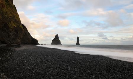 Reynisdrangar Black Sand Beach in Vik Town, Iceland Stock Photo