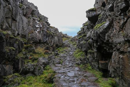 アイスランド南西部のシングヴェリル国立公園の谷