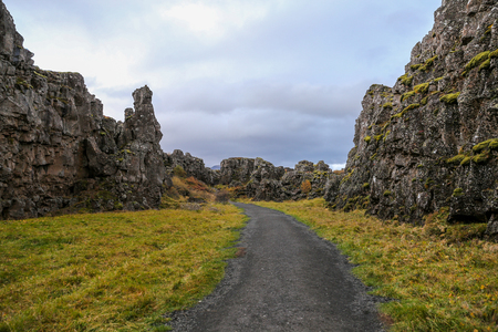 Valley in Thingvellir National Park in Southwestern Iceland