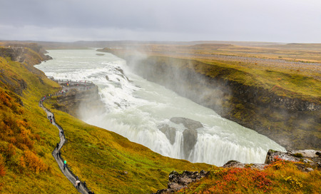 Gullfoss Waterfall over Olfusa River in Iceland Stock Photo