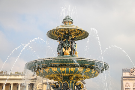 Fountain of River Commerce and Navigation in Place de la Concorde, Paris City, France Stock Photo