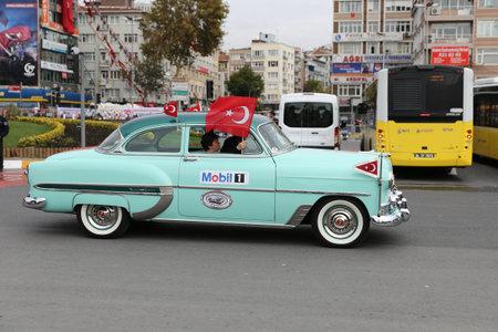 ISTANBUL, TURKEY - OCTOBER 29, 2017: Classic Car pass during 29 October Republic Day of Turkey parade in Vatan Avenue Editorial