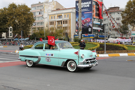 ISTANBUL, TURKEY - OCTOBER 29, 2017: Classic Car pass during 29 October Republic Day of Turkey parade in Vatan Avenue Editorial