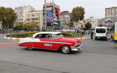 ISTANBUL, TURKEY - OCTOBER 29, 2017: Classic Car pass during 29 October Republic Day of Turkey parade in Vatan Avenue Editöryel