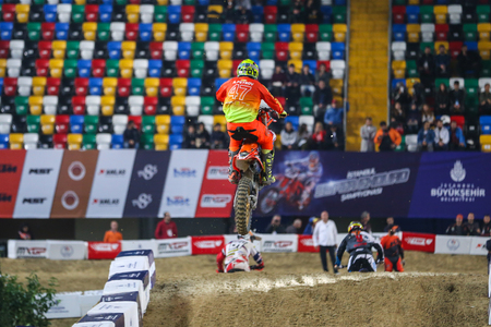 ISTANBUL, TURKEY - NOVEMBER 18, 2017: Unidentified rider in action during Istanbul Supercross championship in Atakoy Athletics Arena. Editorial