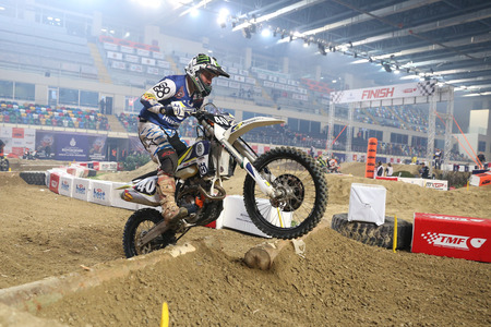 ISTANBUL, TURKEY - NOVEMBER 25, 2017: Unidentified rider in action during Istanbul Superenduro championship in Atakoy Athletics Arena. Editorial
