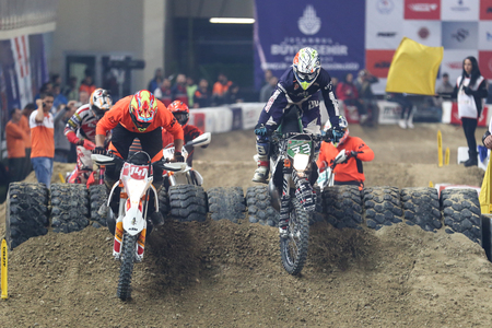 ISTANBUL, TURKEY - NOVEMBER 25, 2017: Unidentified riders in action during Istanbul Superenduro championship in Atakoy Athletics Arena.