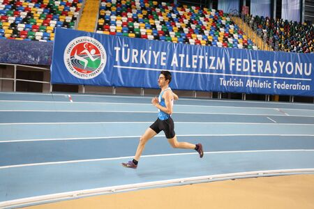 ISTANBUL, TURKEY - JANUARY 06, 2018: Undefined athlete running during Turkish Athletic Federation Threshold Indoor Competitions