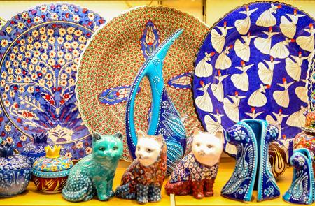 Turkish Ceramics in Grand Bazaar, Istanbul City, Turkey