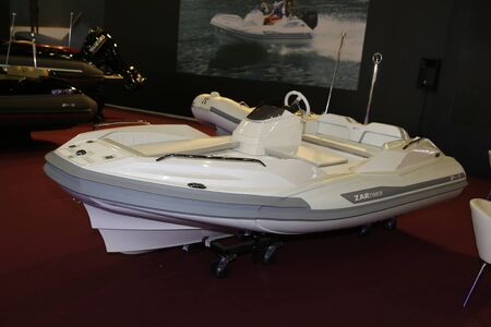 ISTANBUL, TURKEY - FEBRUARY 10, 2018: Zar Tender inflatable boat on display at CNR Eurasia Boat Show in CNR Expo Center