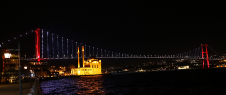 Bosphorus Bridge between European and Asian sides of Istanbul City, Turkey