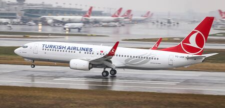 ISTANBUL, TURKEY - MARCH 04, 2018: Turkish Airlines Boeing 737-8F2 (CN 60019) landing to Istanbul Ataturk Airport. THY is the flag carrier of Turkey with 328 fleet size and 302 destinations