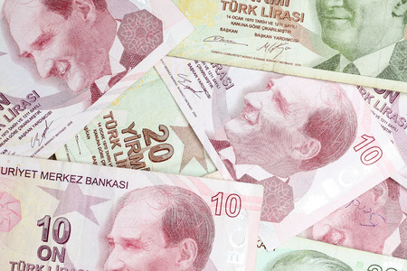 Various Turkish Lira Banknotes Coins Bunch. 10 and 20 TL