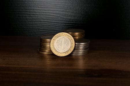 Various Turkish Lira Coins Bunch. 50 Kurus and 1 Lira. Stock fotó