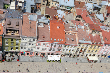 Buildings in Market Square, Lviv City, Ukraine